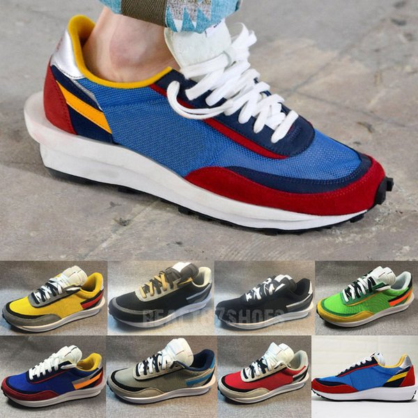 Sacai Ldv Waffle Mens Running Shoes Red Blue Yellow Green Orange Women Double Designer Trainers Sports Sneaker Athletic Shoes 36-45 With Box
