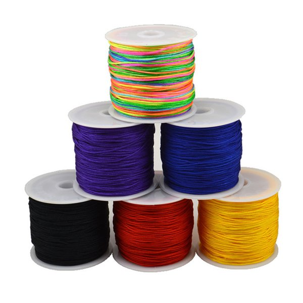 20m/lot Dia 0.8mm Nylon Cord Chinese Knot Macrame Cord String Rattail Beading Threading Kumihimo for Craft Tassel Jewelry Making
