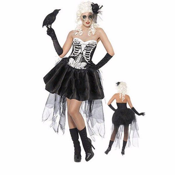 Sexy Mulheres Halloween traje do vampiro Zombie Ghost Bride Cosplay Fancy Dress Lace Mini vestido Tutu esqueleto Tamanho M XXXL