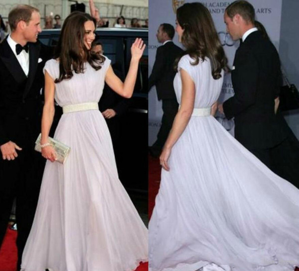 Kate Middleton White Chiffon Evening Prom Dresses Long Special Occasion Red Carpet Celebrity Formal Dresses With Sash Arabic Party Gowns