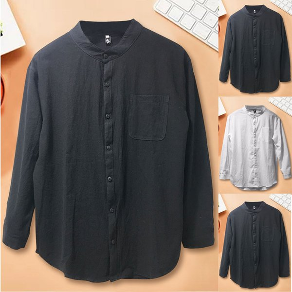 Shirt Men Camisa Button Splicing Linen Long Sleeve Shirt Fashion Long Sleeve Blouse Top