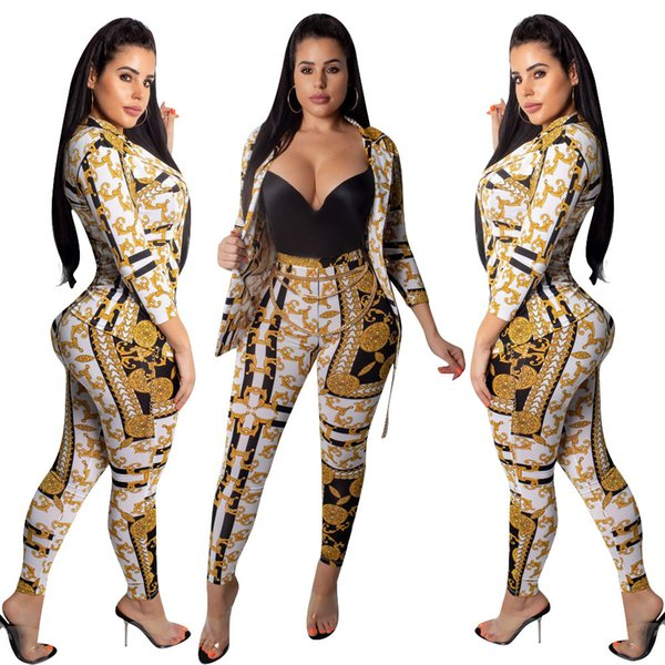 Tendenze Sexy 2 pezzi Set pantaloni Top Nightclub Club sera Outfit Gold Print Women Autunno Inverno Party Streetwear Moda abiti eleganti slim