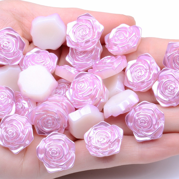 Rose Flower 10pcs 18mm Imitation Pearls Flatback ABS Resin Material Half Pearls Great For Shoes Scrapbooks