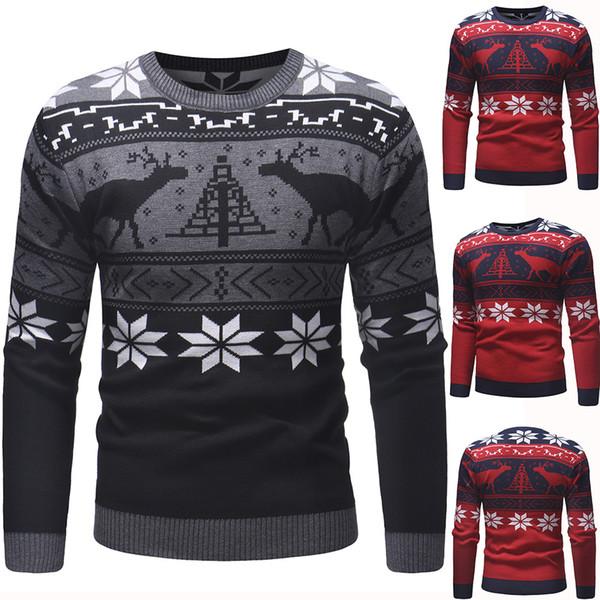 Suéter de punto de ciervo navideño de 2018 para hombre jersey de cuello redondo delgado costura polígono suéter de manga larga