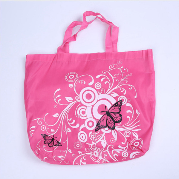 Foldable Shopping Bag Butterfly Flower Shoulder Bag Oxford Fabric Grocery Bags Reusable Tote for Ladies Gift Bags