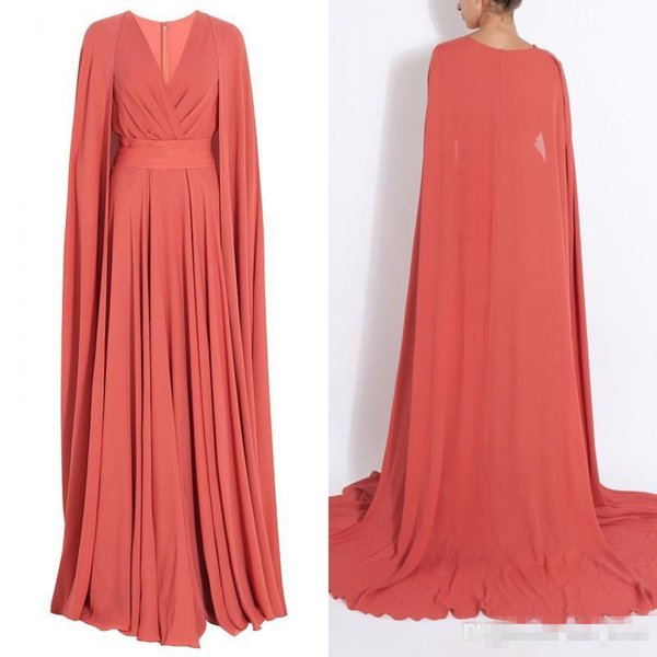 2017 Spring Modest Muslim Long Dress Coral Chiffon Evening Dresses A Line Surplice V Neck Prom Gowns with Cape Sweep Train Custom Made