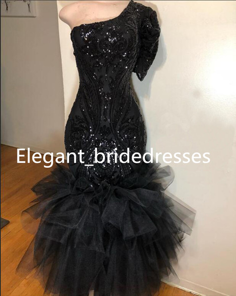 New Black Mermaid Prom Dresses Long 2019 Real Sample Exquisite One Shoulder Sequin Top Ruffles Tulle Short Sleeve Graduation Dresses