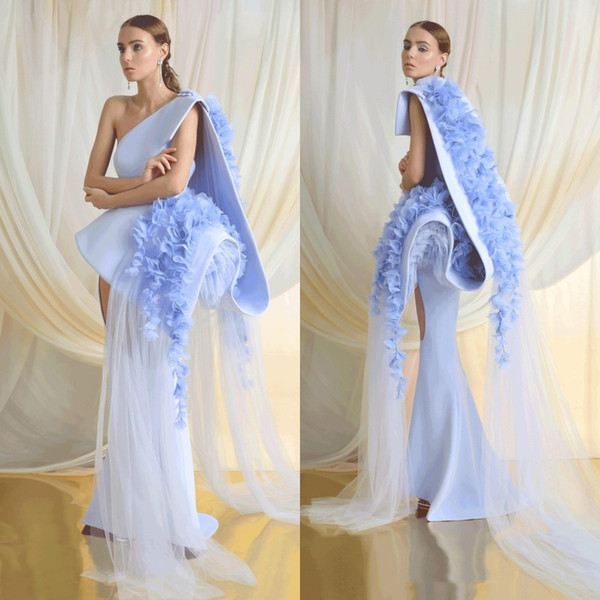 2019 Azzi & Osta Blue Prom Dresses Satin Lace 3D Floral Appliqued One Shoulder Gorgeous Evening Dress Sweep Train Girls Pageant Gowns
