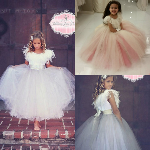 Timeless Stunning Flower Girl Dress for Wedding Jewel Neck Luxury Feathers A Line Cute Girls Pageant Dress Custom Made Kids Formal Wear