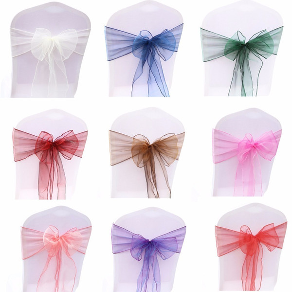 25pcs Chair Sash Bow For Wedding Party Cover Banquet Baby Shower Xmas Decoration Sheer Organza Fabric Supply 18cmx275cm Q190603