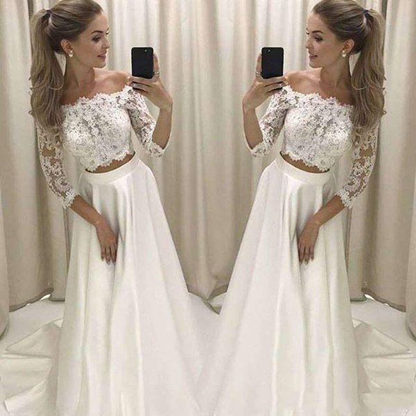 Charming zweiteilige Strand Brautkleider mit langen Ärmeln Spitze plus Größe bodenlangen Land Brautkleid benutzerdefinierte MAde
