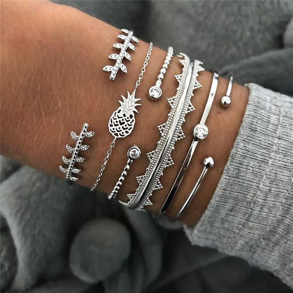 BUTEELUVV Silver Pineapple Charm Bracelets for Women Bohemian Gypsy Geometric Cuff Bangles Bracelets Set Fashion Boho Jewelry