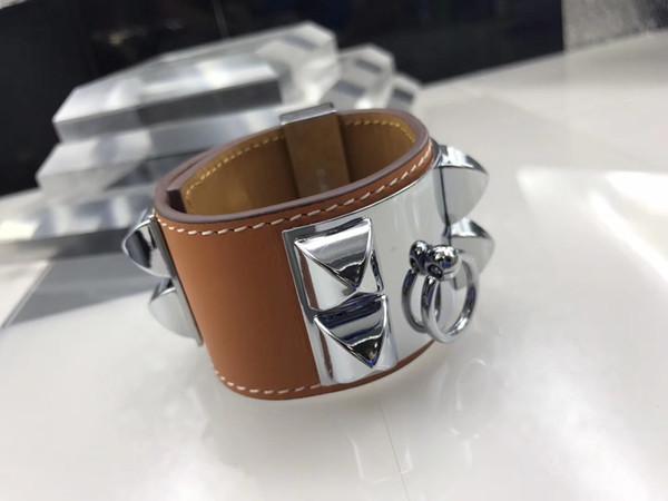 Pulseras de diseño punky para hombres mujer nueva moda pulsera de cuero de uñas de sauce pulsera brazalete femme joyería del partido al por mayor