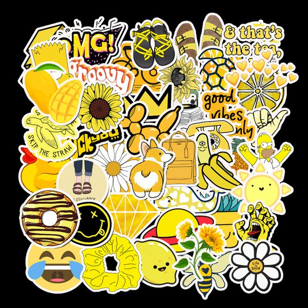 best selling 50 PCS Cartoon Yellow VSCO Stickers For Chidren Toy Waterproof Sticker to DIY Suitcase Laptop Bicycle Helmet Car Decals L