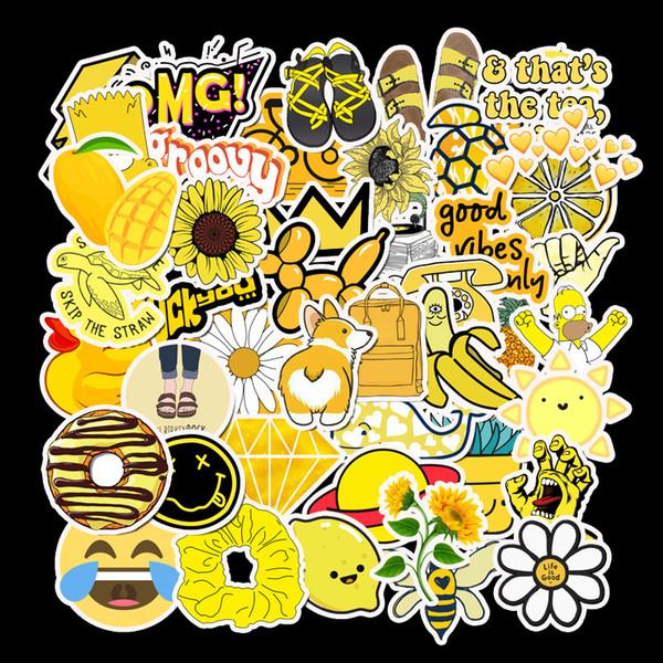 50 PCS Cartoon Желтых VSCO наклейки для игрушек Детских водонепроницаемых наклеек для DIY Чемодана ноутбук велосипедов шлют автомобили Табличка L