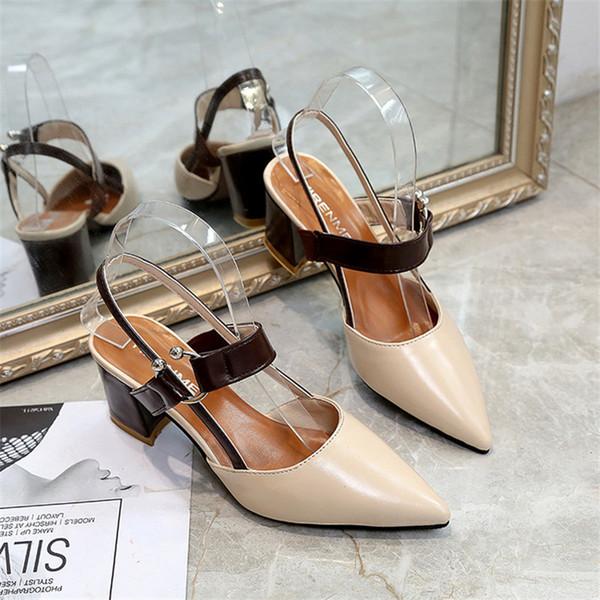 2019 vestito 2018 primavera nuovi sandali voluminosi caviglia con tacco alto bocca superficiale scarpe a punta baotou scarpe da lavoro donne sexy tacchi alti x21