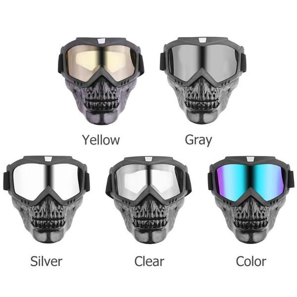 VODOOL Motorcyle Skull Модульная маска Съемные очки Motorcoss Очки для мотоциклетного шлема с открытым лицом