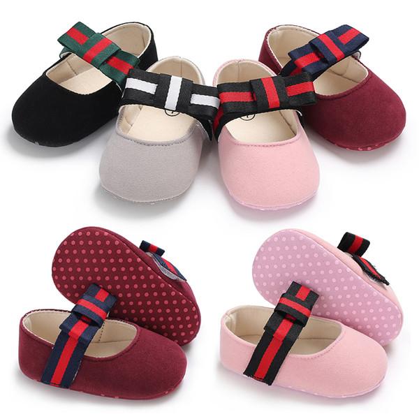 Más nuevos zapatos de vestir de princesa ballet niñas bebés primer caminante recién nacido arco cuna calzado suela suave antideslizante Prewalker