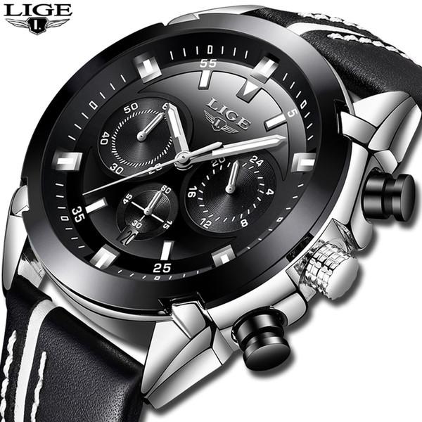 Relojes Hombre 2019 New LIGE Mens Watches Top  Waterproof 24 hour Date Quartz Watch Man Leather Sport Wrist Watch