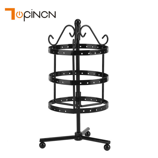 72 Holes Rotating Metal Earring Display Stand Holder Rack 3 Layer Makeup Organizer Shelf Jewelry Display Storage Shelves