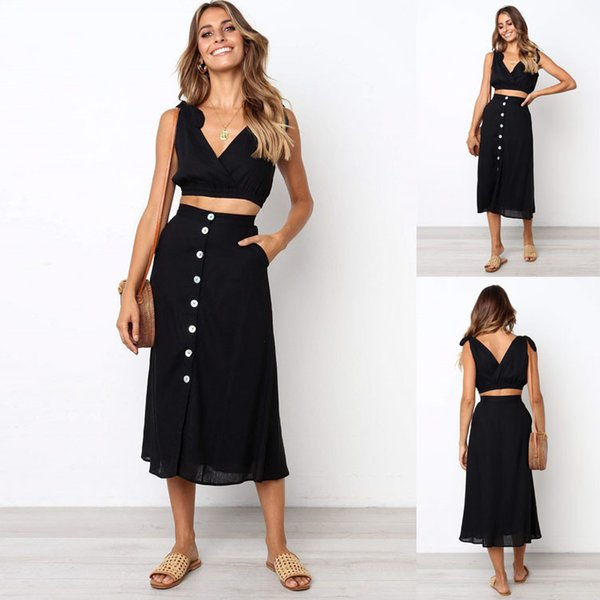 Trendy2019 V Sexy Blei Tube Top Jacke Knopf Kleid Anzug