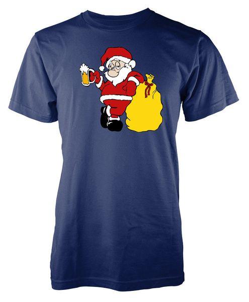 Смешной пьяный пиво Санта-Клаус Дед Мороз взрослый футболка размер discout горячие новые футболки бренд рубашки джинсы печати