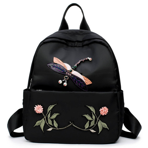 Простой рюкзак через плечо National Wind Стерео Стрекоза Вышивка Традиционная крафт-сумка Оксфорд Сумка Fa1