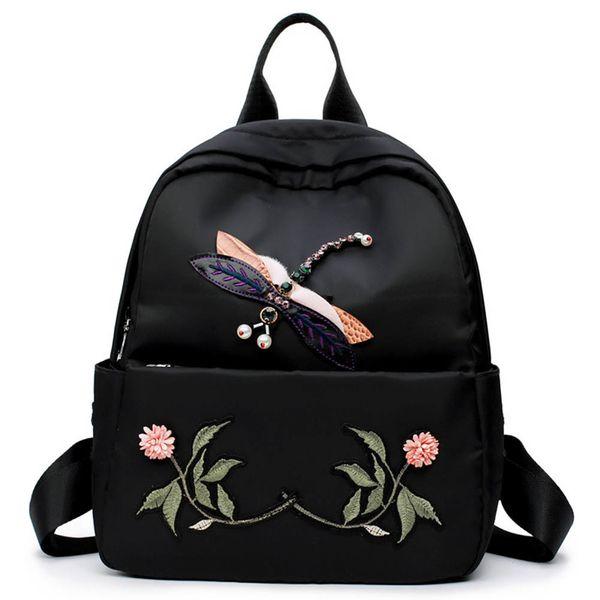 Simple Shoulder Backpack National Wind Stereo Dragonfly Embroidery Traditional Craft Oxford Bag Shoulder Bag Fa1