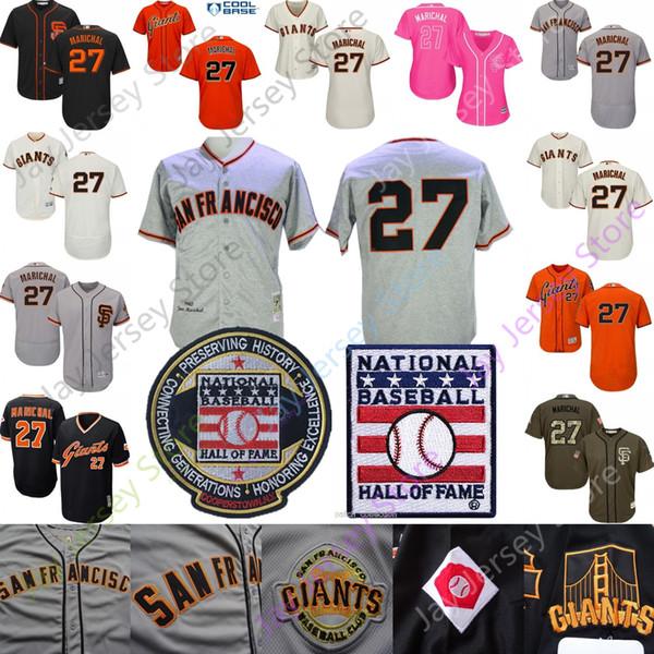 Juan Marichal Jersey São Francisco Cooperstown Giants Beisebol Hall Da Fama HOF Patch Casa Fora Pullover Botão Tudo Costurado