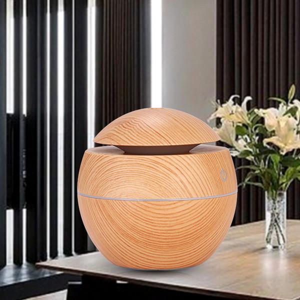 Humidificador esencial de grano de madera Aroma difusor de aceite Humidificador ultrasónico de aire de madera USB Mini fabricante de niebla Luces LED para oficina en casa RRA1897