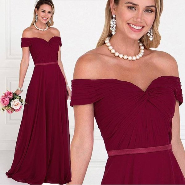 Fashion Dark Red Cheap Bridesmaids Dress 2019 Chiffon With Short Sleeves V neck Pleated Empire Beach Style Waist Ribbon Party prom Dresses