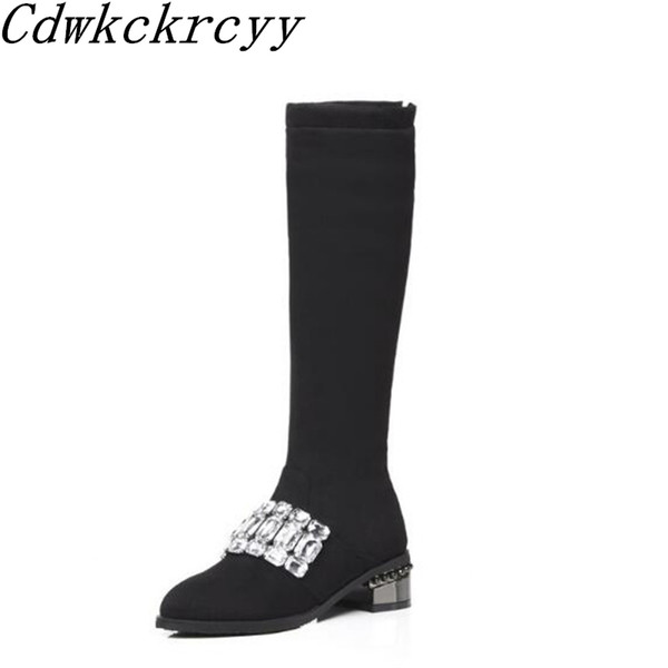 Autumn and winter New style fashion Rhinestone personality Knight boots Cashmere Keep warm black sexy Thin leg Women Boots 34-48