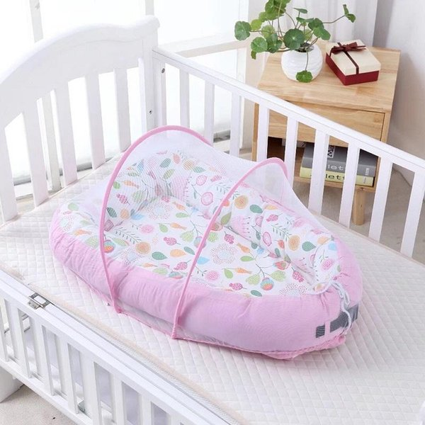 90*50cm Portable Cotton Baby Nest Crib Bed With Mosquito Net Baby Sleep Pod Home Bed Infant Toddler Cradle For Newborn