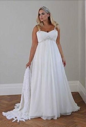 Plus la taille des robes de mariée de plage occasionnels Bretelles spaghetti perlées en mousseline de soie longueur de plancher taille Empire élégante robe de mariée