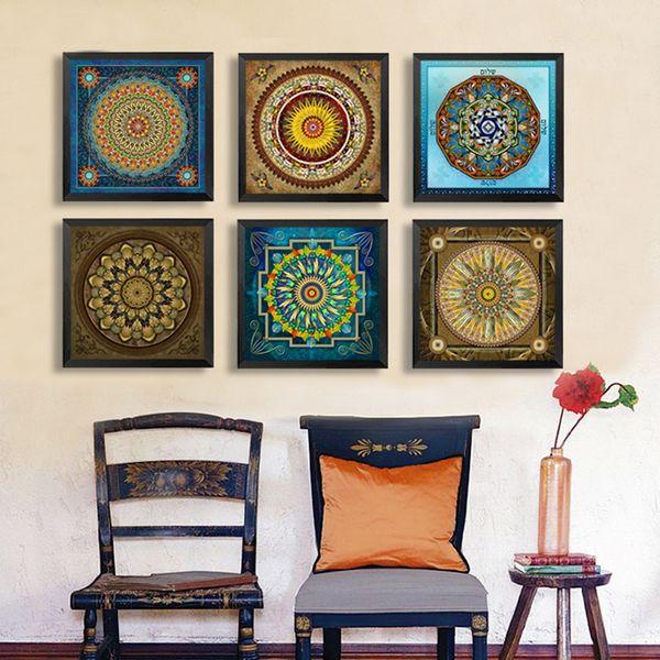 Mandala Ornament Thangka Yoga Tela Pittura Vintage Stampa Poster Tela artistica dipingere quadri a parete Living Room Decor No Frame