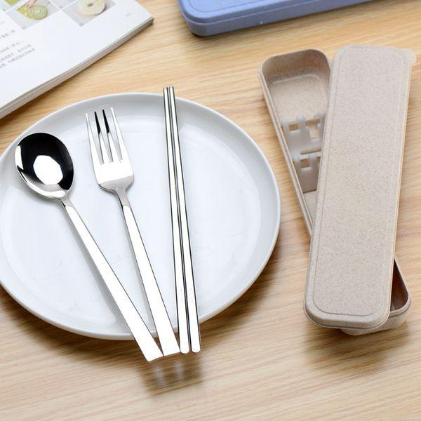 3PCS Taşınabilir sofra takımı Kaşık Çatal Chopsticks bulaşığı Seti Seyahat Kutusu ile 304 Paslanmaz Çelik Sofra