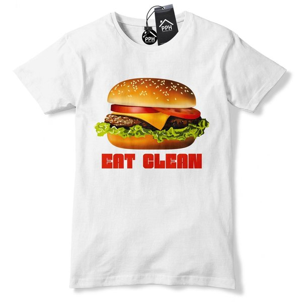 Burger EAT CLEAN Funny Tshirt Food Drink Gym Geek Hipster Fries Fast Tee Top 530 harajuku Summer 2018 tshirt
