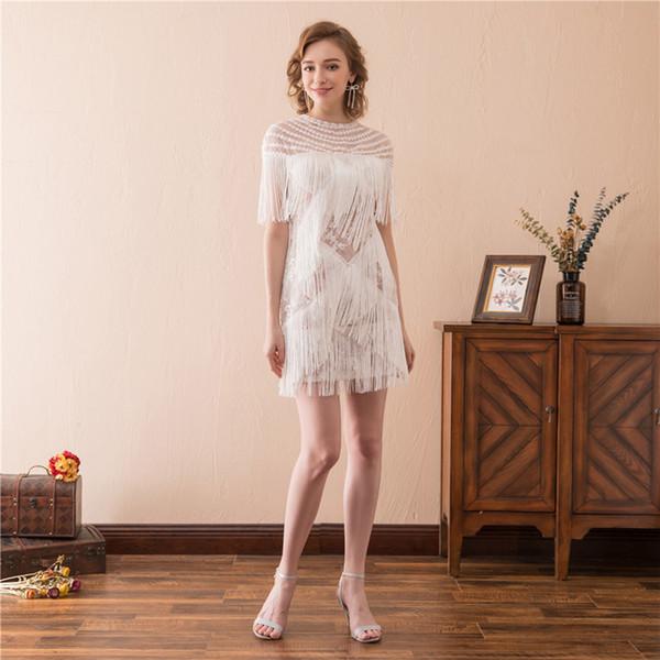 2019 Mais Novo Sexy Lace Borla Branco Mini Vestidos de Noite Com Plus Size Prom Vestido de Festa Formal Robe De Soiree AL57