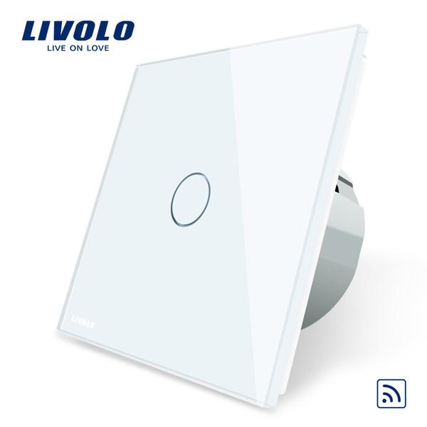 Livolo Interruttore a distanza per telecomando a muro standard UE, 1 interruttore a muro a 1 via per telecomando a parete, pannello di vetro