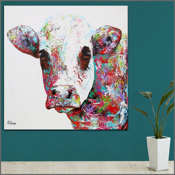 2019 Wall Art Painting Modern Colorful Animal Oil Painting On Canvas Vivid Colors Animal Cow Oil Painting No Frame From Solutionwinni 27 73