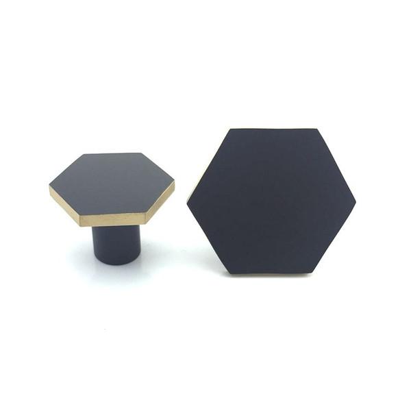 Solid Brass Black Cabinet Knob Furniture Dresser Kitchen Cupboard Drawer knob Pull Handle hexagon shape furniture new designs
