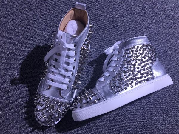 Luxury Designer Pik Pik Spikes Sneaker Flat,Red Bottom Shoes Luxury Designer High Top Men Rivets Leisure Flats With Box EU35-46 c15