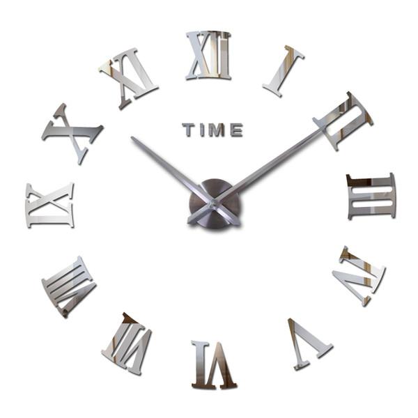 Nuovo caldo acrilico specchio adesivi orologio da parete Orologi Casa moderna Decora soggiorno circolare numeri romani Quartz Sticker Q190531