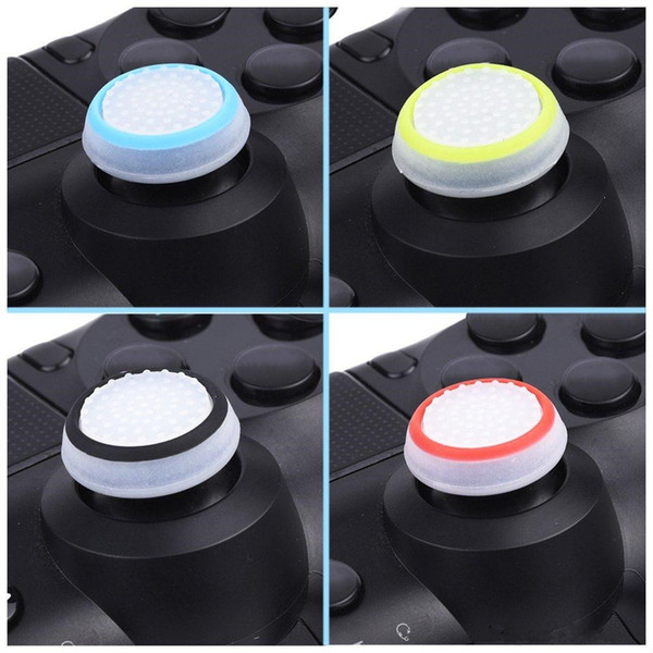 top popular Dual Color Silicone Joystick Cap Thumb Grip Stick Grips Caps Case For PS4 PS3 Xbox one 360 WiiU Controller DHL FREE SHIPPING 2020