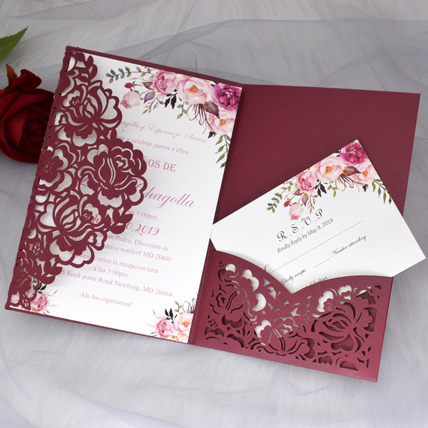 best selling Cordially Inviting - Marsala Flowr Print Wedding Invitations Rose Laser Cut Invitation Cards with RSVP for Bridal Shower Quinceanera Invites