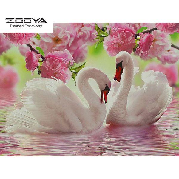 ZOOYA DIY 5D Full Round Diamond Painting Embroidery Diamond Mosaic Animal Swan & Flower Cross Stitch Home Decor