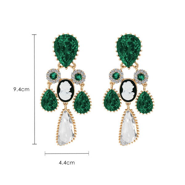 Retro Court Green Artificial Crystal Earrings Europe And America Exaggerated Personality Earrings Temperament Sexy Earrings S514