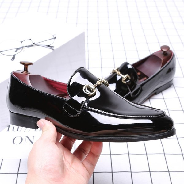 Black Slip-On Casual Men Loafers Flats Dress shoes Male Loafers Casual Wedding and Mens party Leather Oxford Brogue size 38-48 #370610
