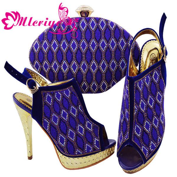 JZC003-BLUE Italian Shoes with Matching Bags 2019 Shoes Woman High Heel Luxury Women Nigerian Women Wedding Shoes with Rhinestone