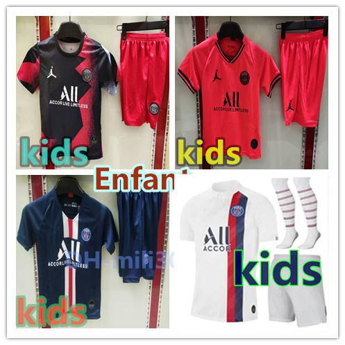 top popular 2019 2020 Paris kids kit soccer jersey maillot 19 20 AJ mbappe ICARDI Enfant Maillot de foot uniform Paris air Jordam football shirt kit 2020